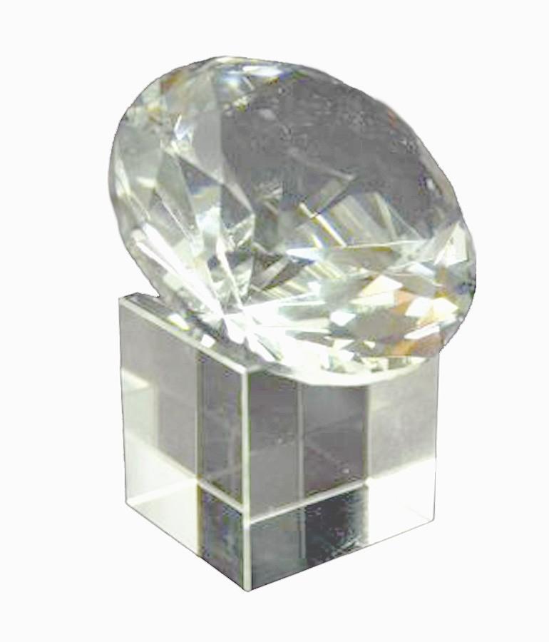 Diamante De Cristal 60mm Branco Com Base  Imp  - Arrivo Mobile