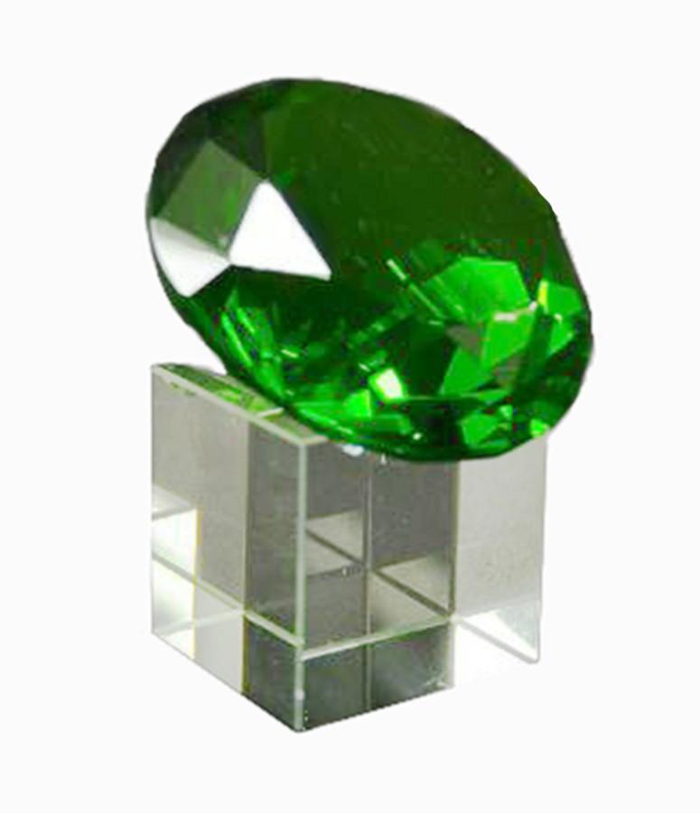 Diamante De Cristal 60mm Verde Com Base  Imp  - Arrivo Mobile