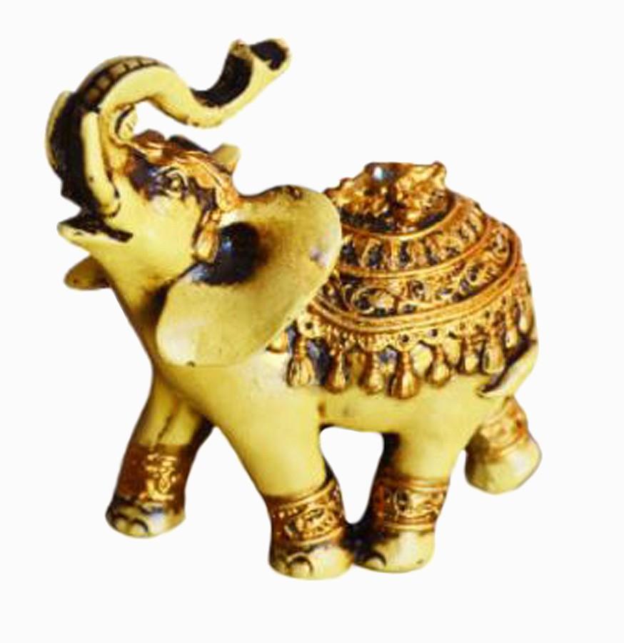 Estatua Imagem de Elefante Betumado Dourado  - Arrivo Mobile