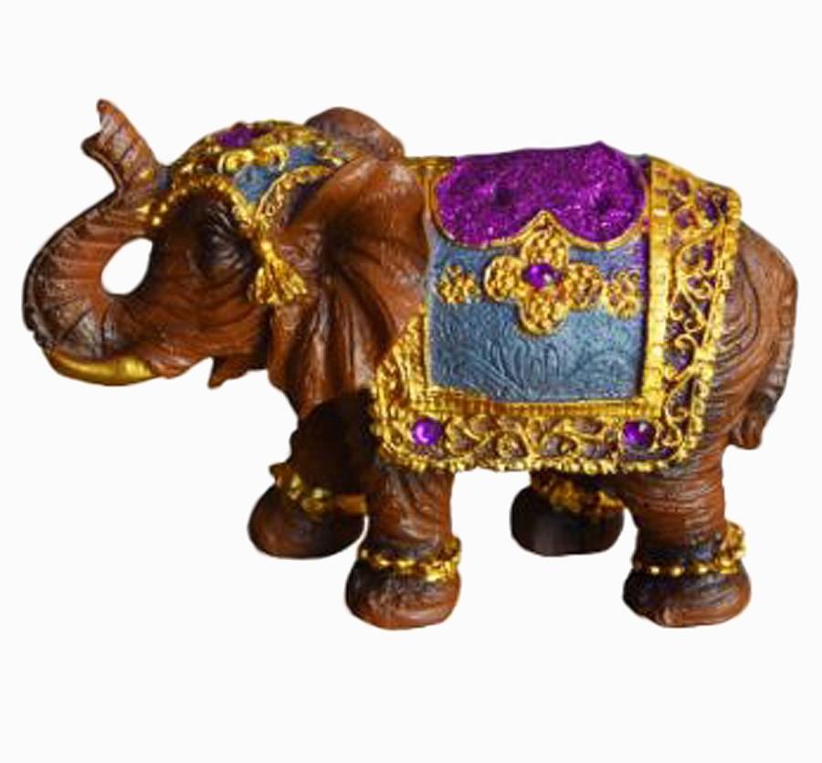 Estatua Imagem de Elefante Marrom Com Roxo G  - Arrivo Mobile