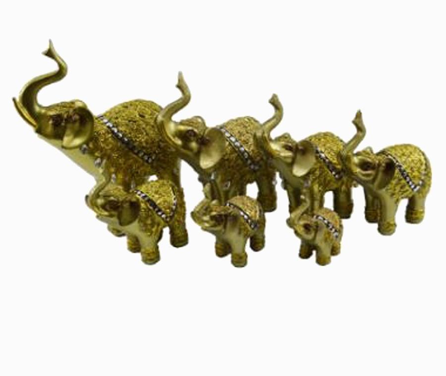 Estatua Imagem de Elefantes C/ 7 De Resina Dourado Importado  - Arrivo Mobile