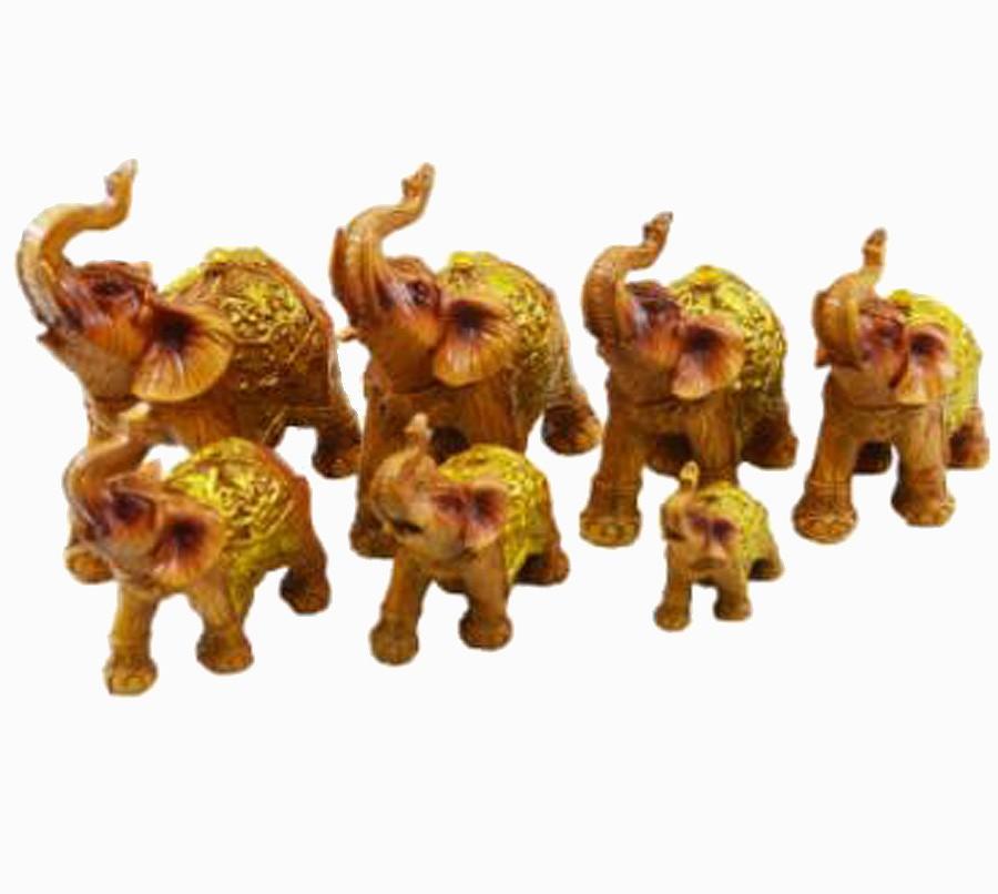 Estatua Imagem de Elefantes C/ 7 De Resina Madeira Importado  - Arrivo Mobile
