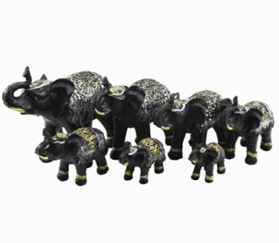 Estatua Imagem de Elefantes C/ 7 De Resina Tabaco Importado  - Arrivo Mobile