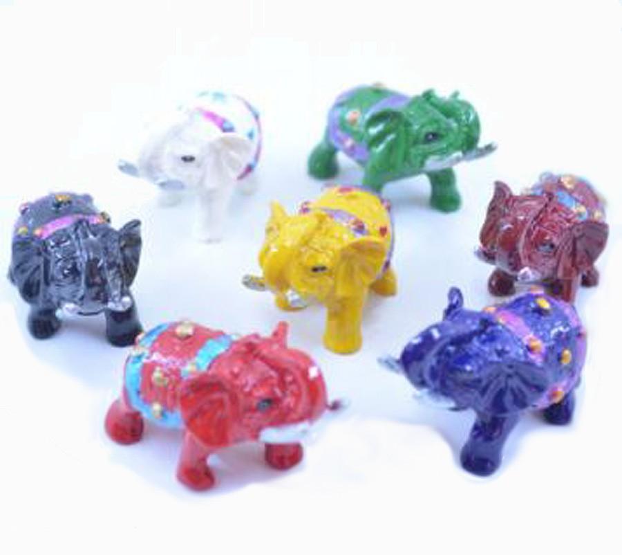 Estatua Imagem de Elefantes Colorido Mini Importado  - Arrivo Mobile