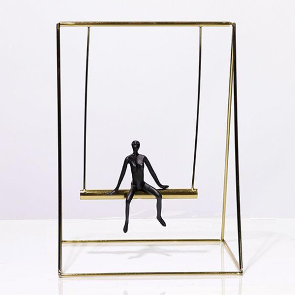 Escultura Balanço em Metal Dourado 36x27x22cm  -  Arrivo Mobile