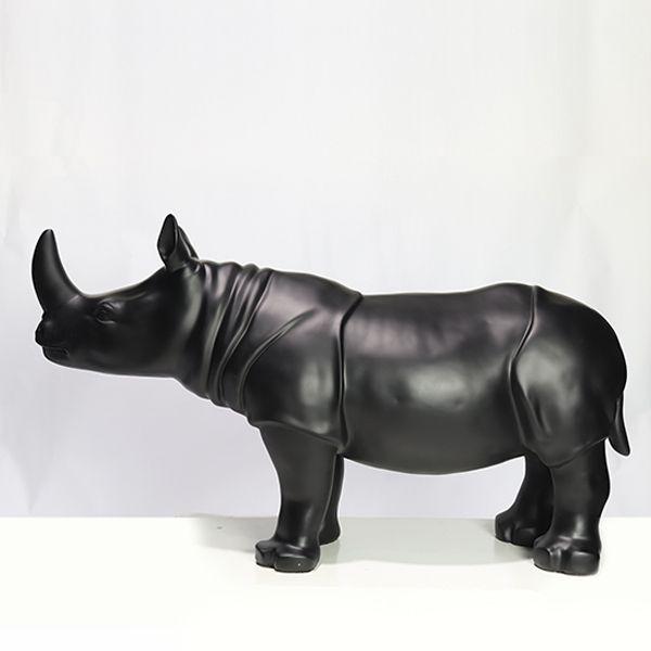Escultura Em Resina Rinoceronte Preto 55x100x8cm  - Arrivo Mobile