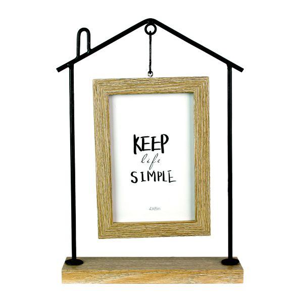 Escultura Quadro Casa Keep Simple Ferro Madeira 29x20cm  - Arrivo Mobile