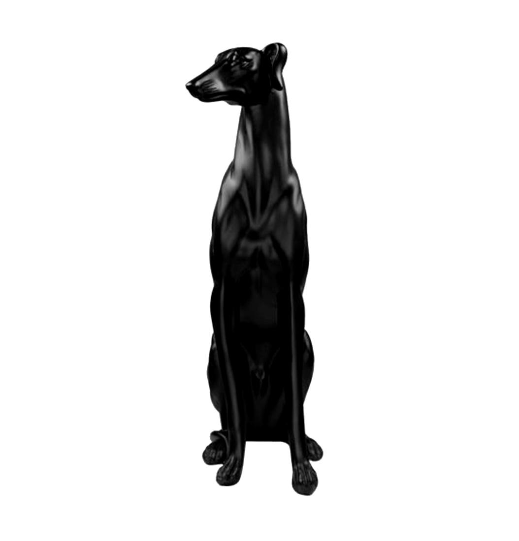 Escultura Resina Cachorro Galgo Preto 53x12x28cm  - Arrivo Mobile