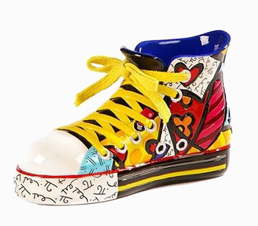Escultura Romero Britto Sapato Sneaker  7x13x6cm  - Arrivo Mobile