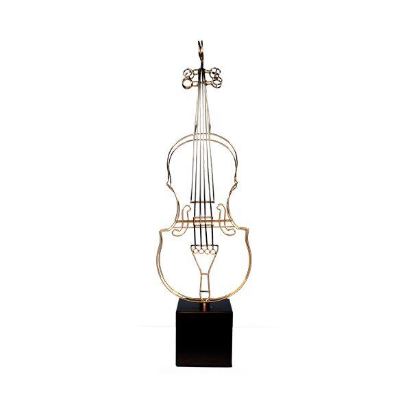 Escultura Violino De Ferro Dourada G 72cm  - Arrivo Mobile
