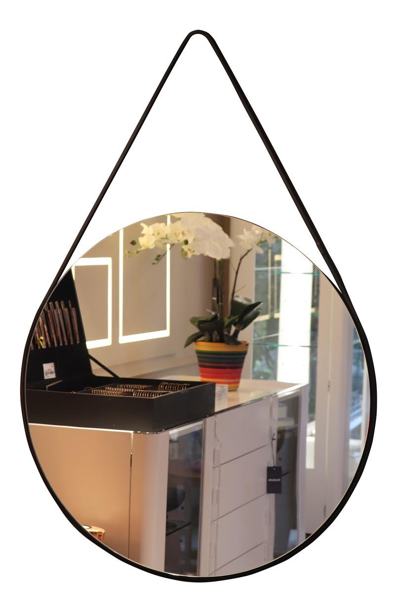 Espelho Com Alça Em Ferro Preto 70cm  - Arrivo Mobile