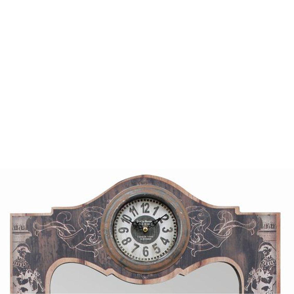 Espelho De Parede 4 Gancheiras Com Relógio 65x40x7cm  - Arrivo Mobile