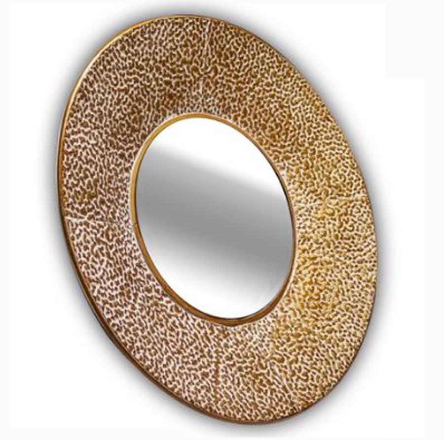 Espelho Redondo Borda Texturizada Metal Dourado 81x81x11cm  - Arrivo Mobile
