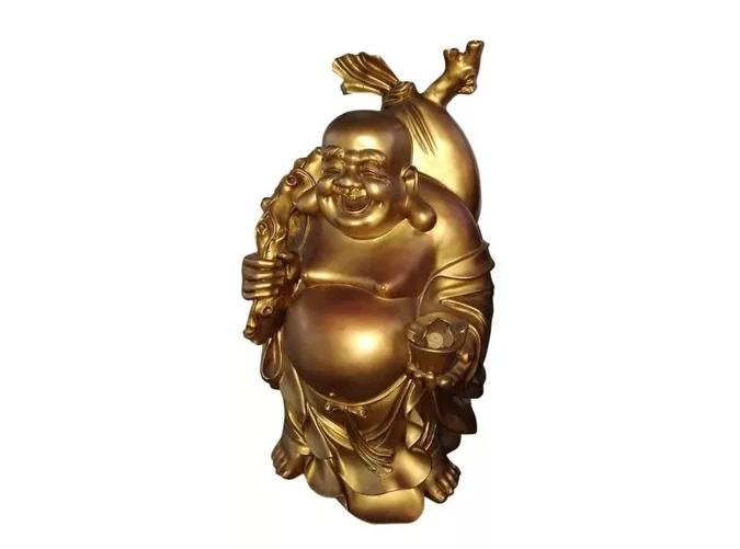 Estátua Buda Gordo Dourado Gg  - Arrivo Mobile