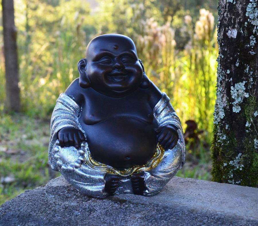 Estátua Chinês Buda Sorridente Gordo Prosperidade Prata 21cm  - Arrivo Mobile