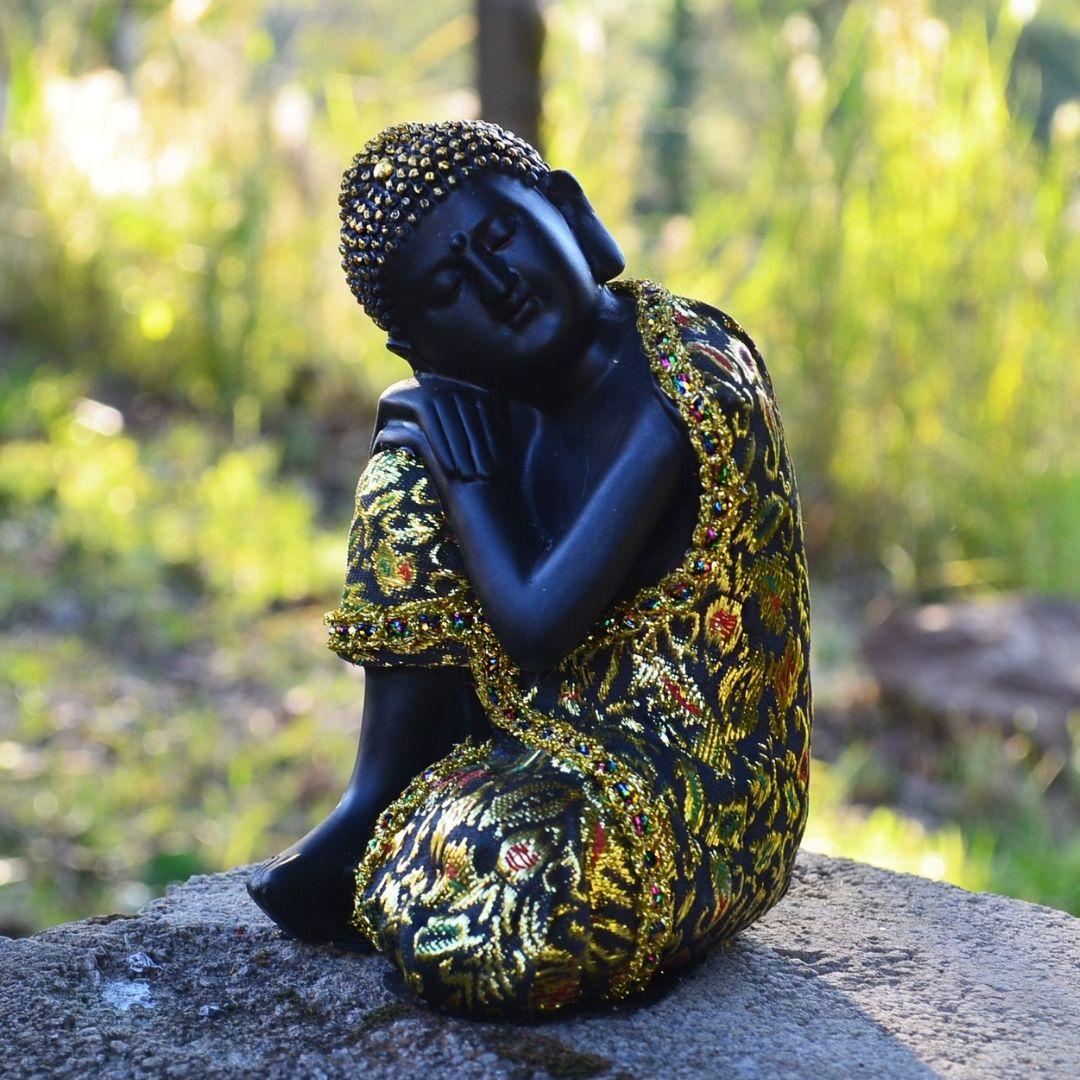 Estatua Imagem de Buda de Lado com Tecido 17cm  - Arrivo Mobile