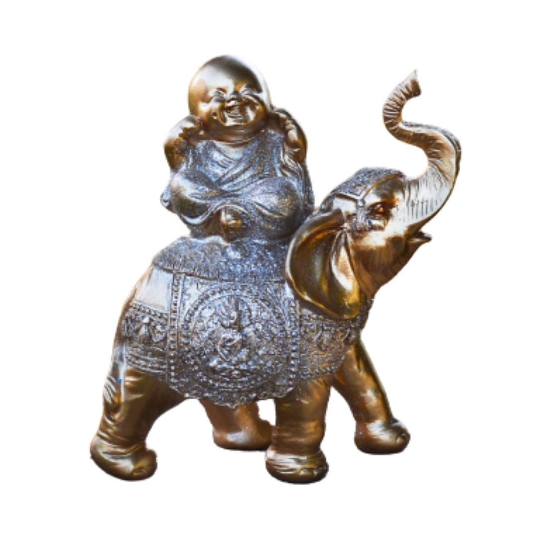 Estatua Imagem de Buda Com Elefante Dourado Importado  - Arrivo Mobile
