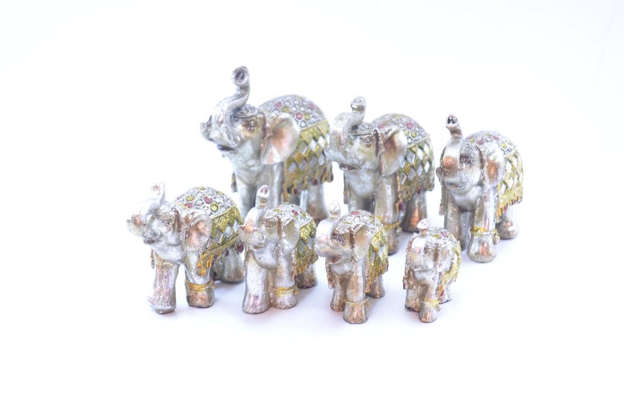 Estatua Imagem de Elefantes C/ 7 De Resina Importado  - Arrivo Mobile