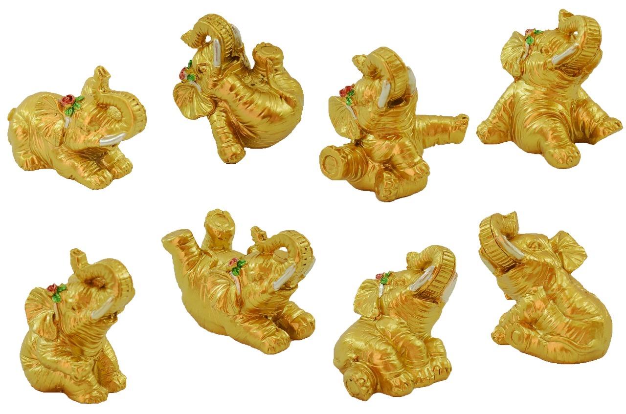 Estatua Imagem de Elefantes C/ 8 Dourado Importado  - Arrivo Mobile