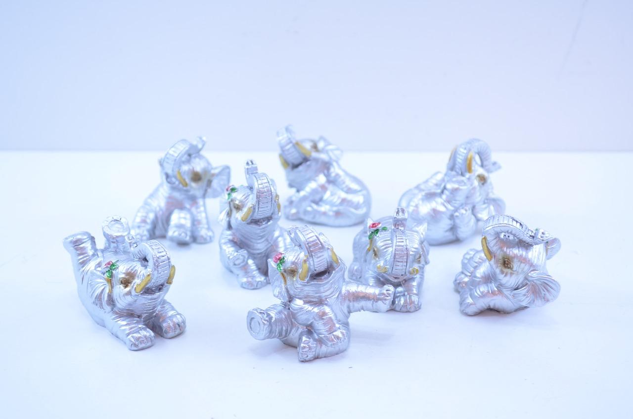 Estatua Imagem de Elefantes C/ 8 Prata Importado  - Arrivo Mobile
