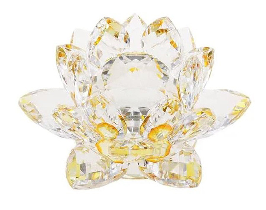 Flor De Lotus Cristal Amarela 30mm Imp  - Arrivo Mobile