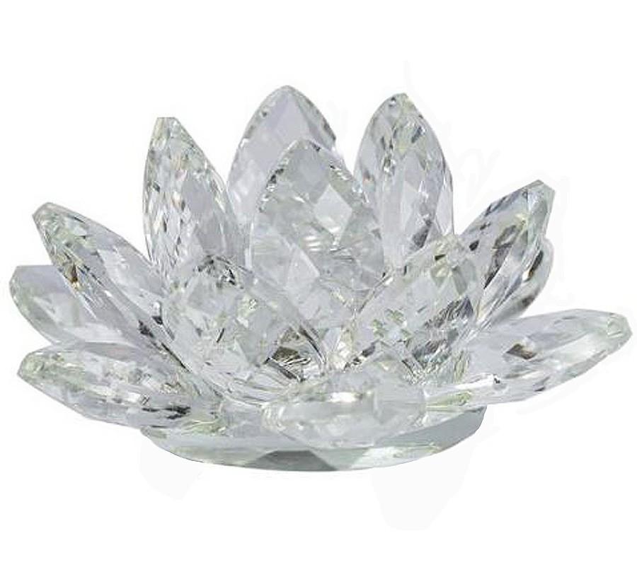 Flor De Lotus Cristal Miolo Branco 50mm Imp  - Arrivo Mobile