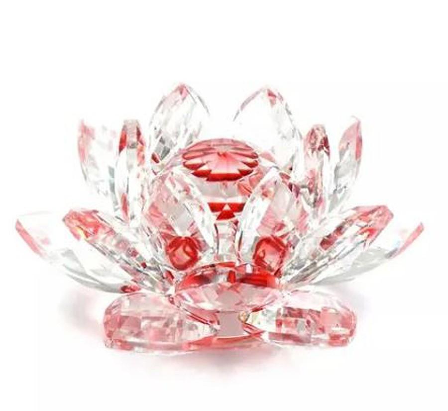Flor De Lotus Cristal Vermelha 60mm Imp  - Arrivo Mobile