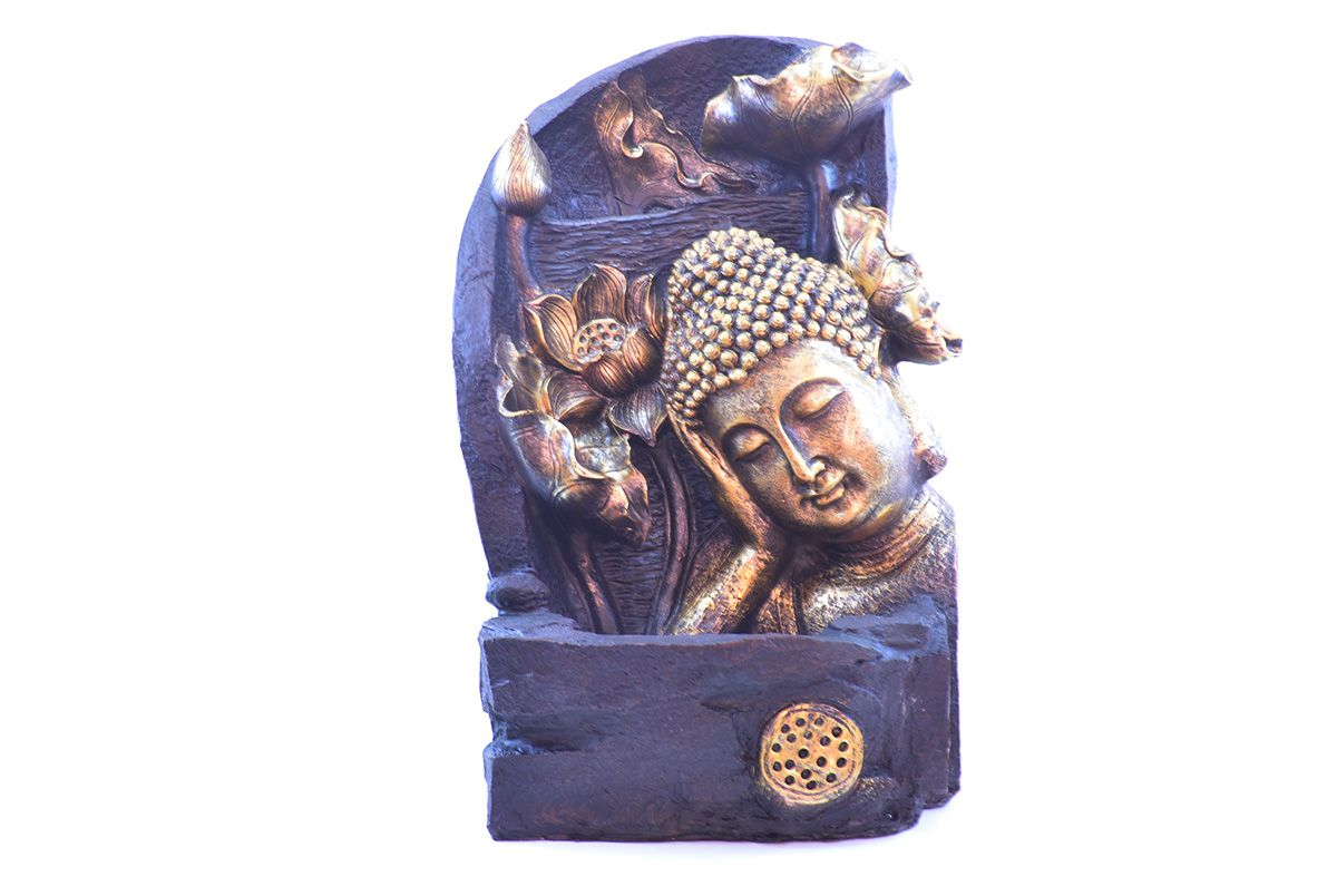 Fonte Zen De Água G Buda Com Folhas 40cm  - Arrivo Mobile