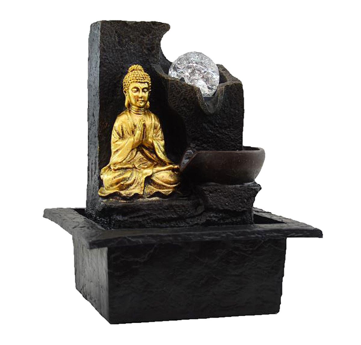 Fonte Zen de Água Buda Meditando Com Bola  - Arrivo Mobile