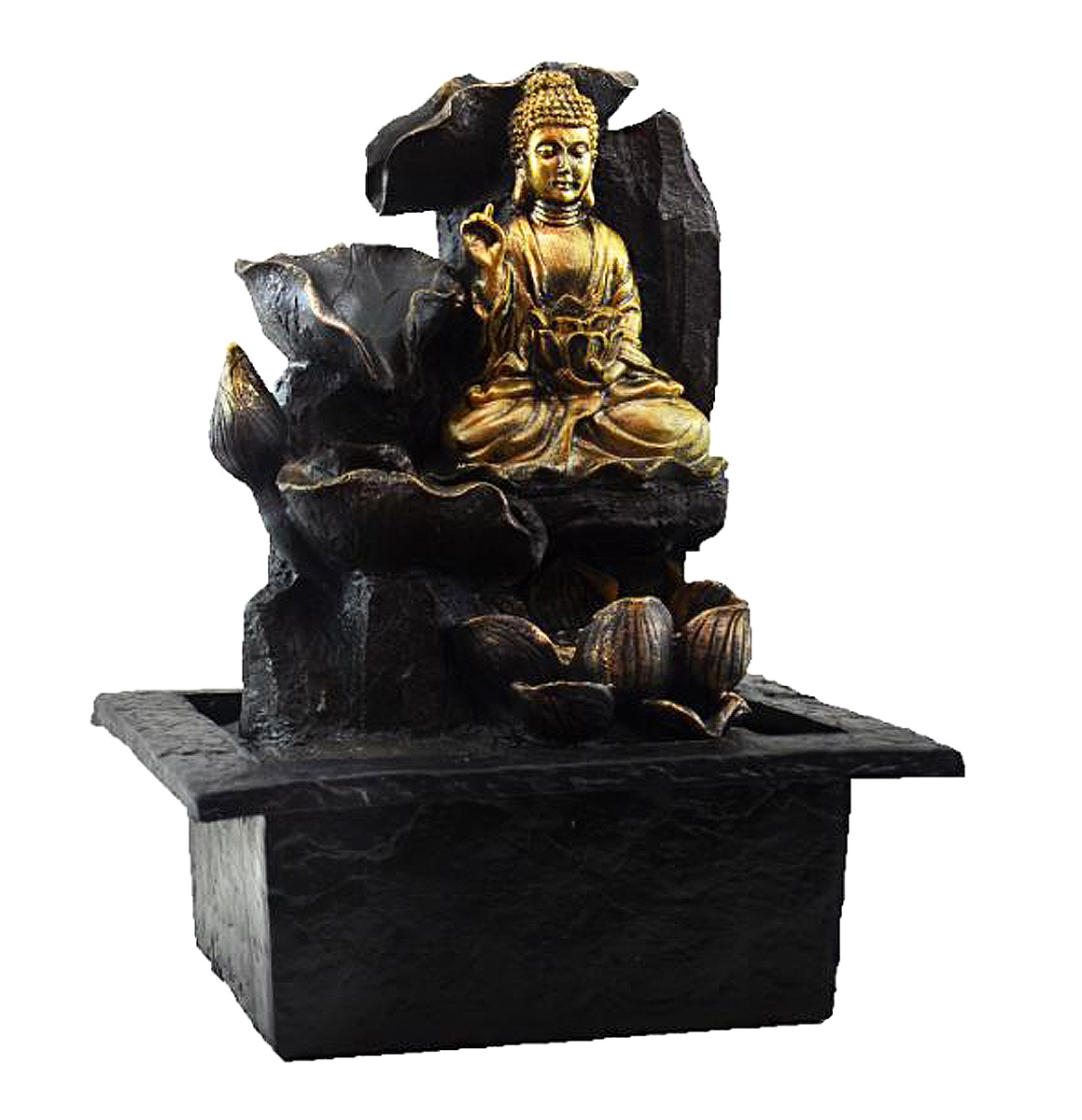 Fonte Zen de Água Buda Meditando Com Flor De Lótus  - Arrivo Mobile