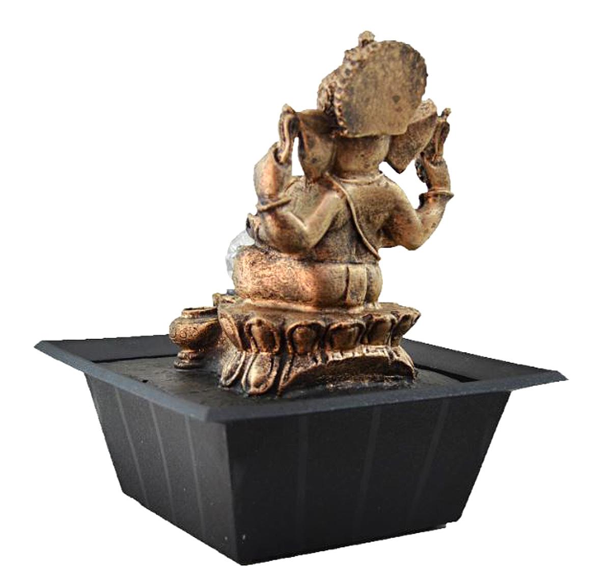 Fonte Zen de Água Ganesha Ouro Velho Com Bola  - Arrivo Mobile