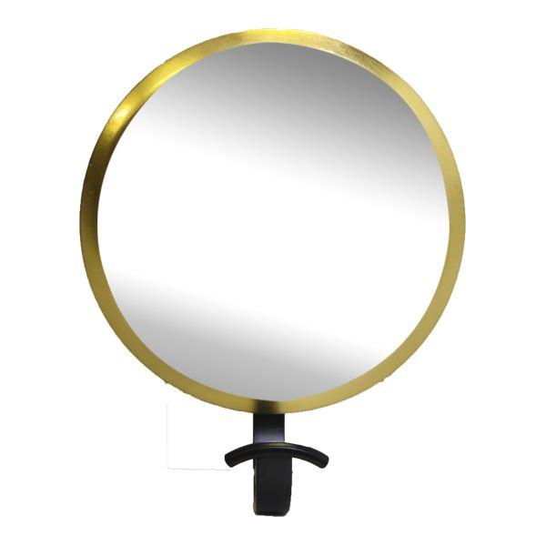 Gancheira Redonda com Espelho Dourada 23x19x8cm  - Arrivo Mobile
