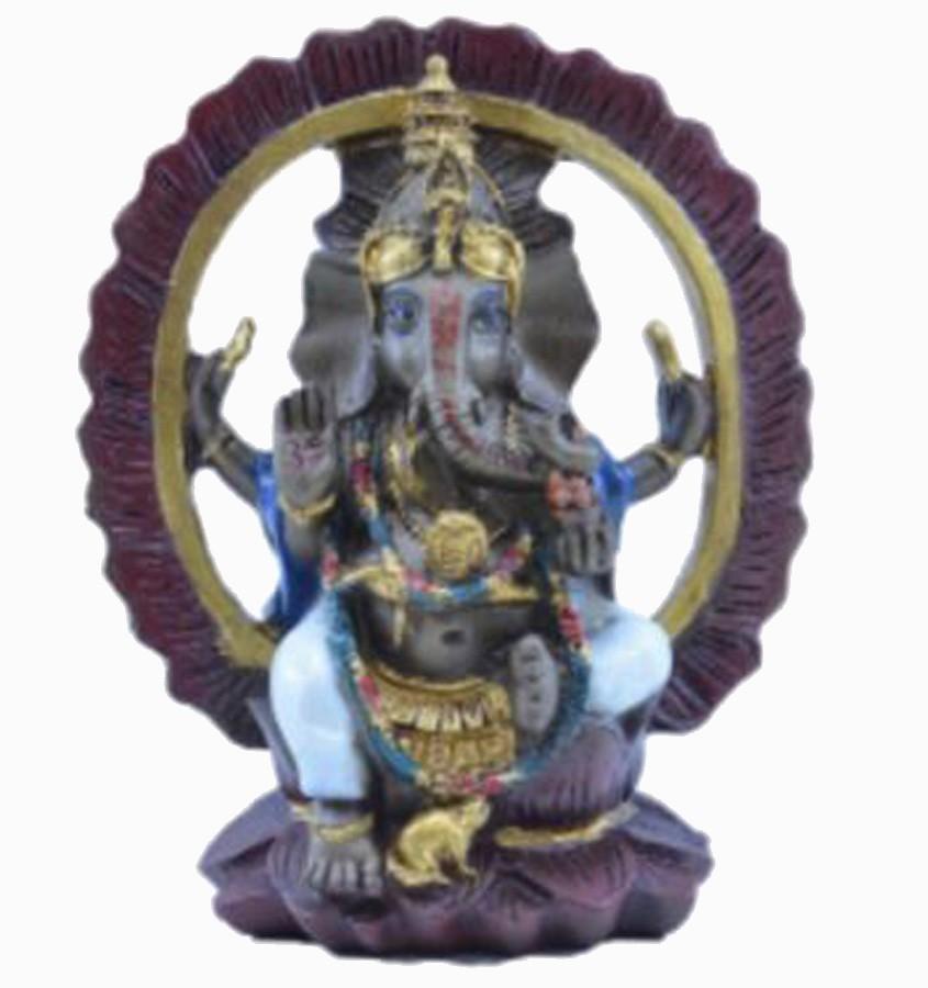 Estatua Enfeite Deus Ganesha Branco Arco  - Arrivo Mobile