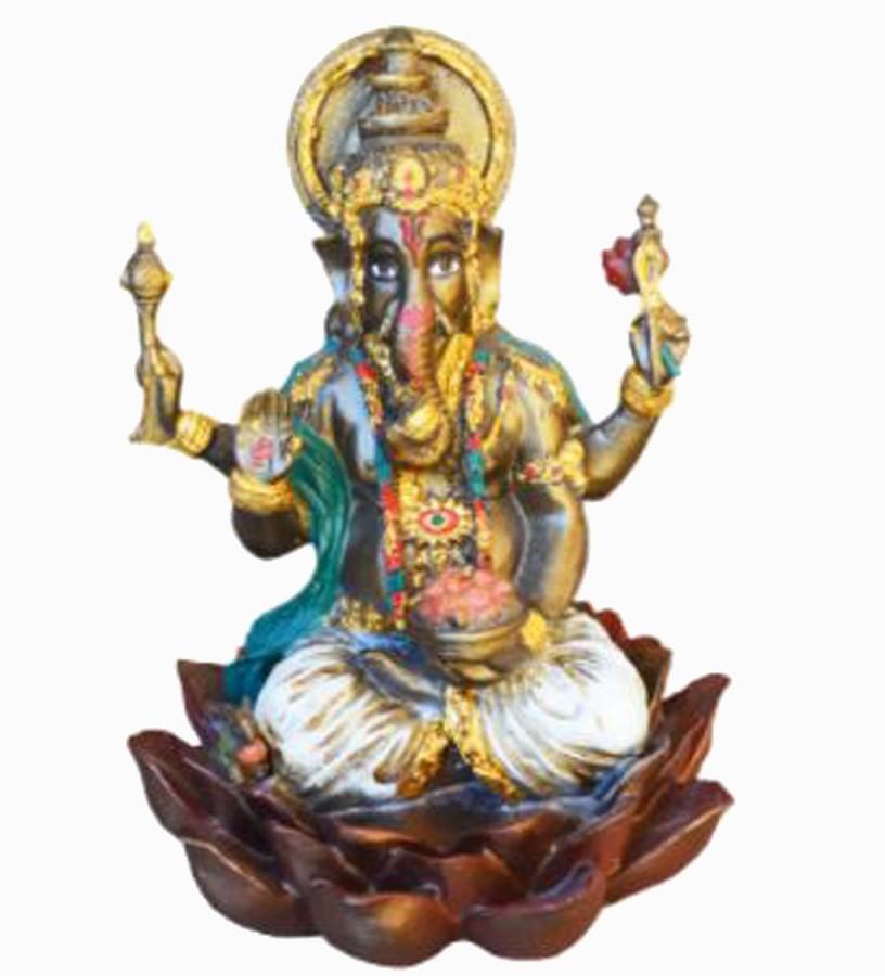 Estatua Enfeite Deus Ganesha Branco Flor De Lótus G  - Arrivo Mobile