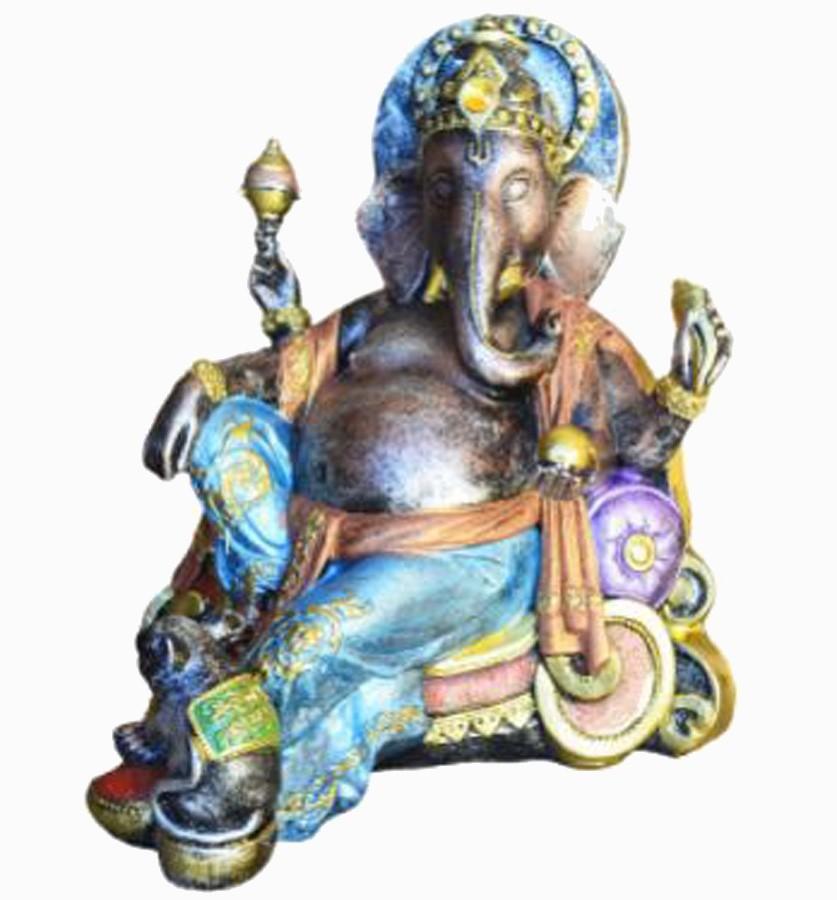 Estatua Enfeite Deus Ganesha Gordo No Trono  - Arrivo Mobile