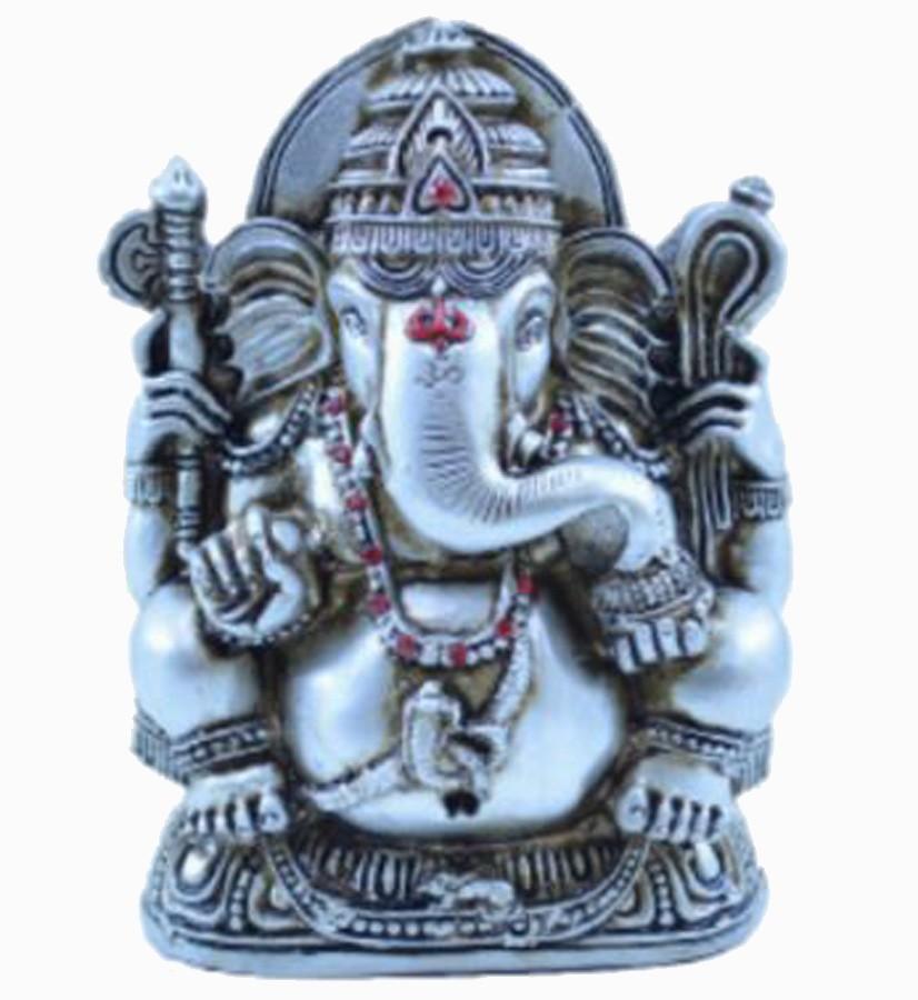 Estatua Enfeite Deus Ganesha M Prata Costas Lisa  - Arrivo Mobile