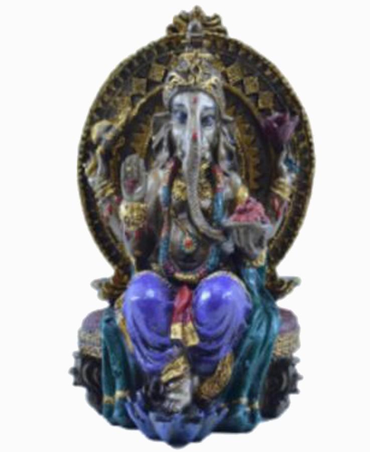 Estatua Enfeite Deus Ganesha Roxo No Trono  - Arrivo Mobile