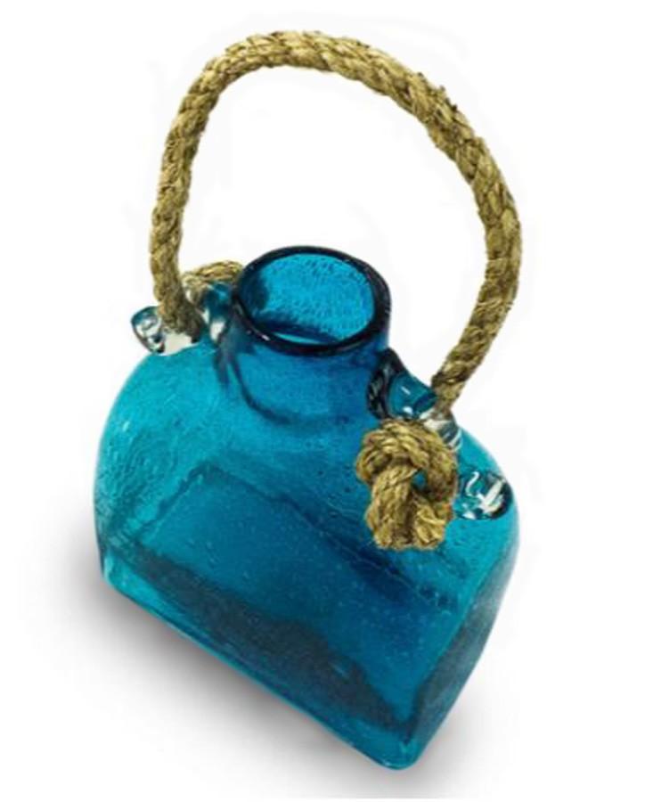 Garrafa Decorativa Vidro Azul Corda 28x23x13  - Arrivo Mobile