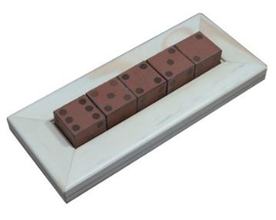 Jogo De 5 Dados Madeira Natural E Recouro Caramelo 29x6x12cm  - Arrivo Mobile