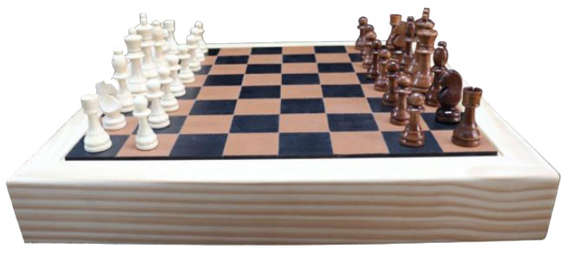 Jogo Xadrez Madeira Natural e Recouro Caramelo 40x40x7cm  - Arrivo Mobile