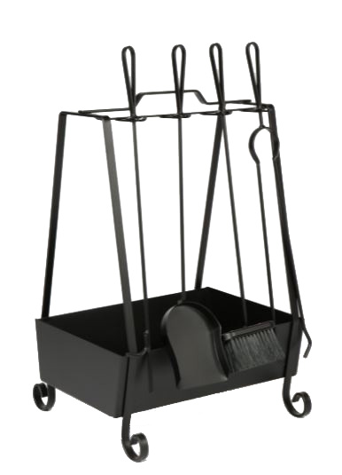 Kit de limpeza para lareira com cesto de lenha cabo de ferro  - Arrivo Mobile