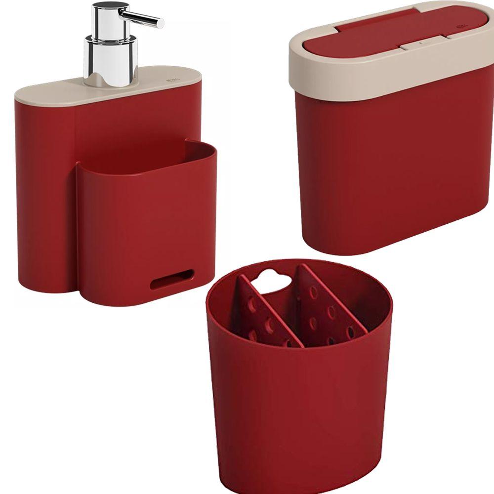 Kit Dispenser Porta Sabão E Esponja Lixeira E Porta Talher  - Arrivo Mobile