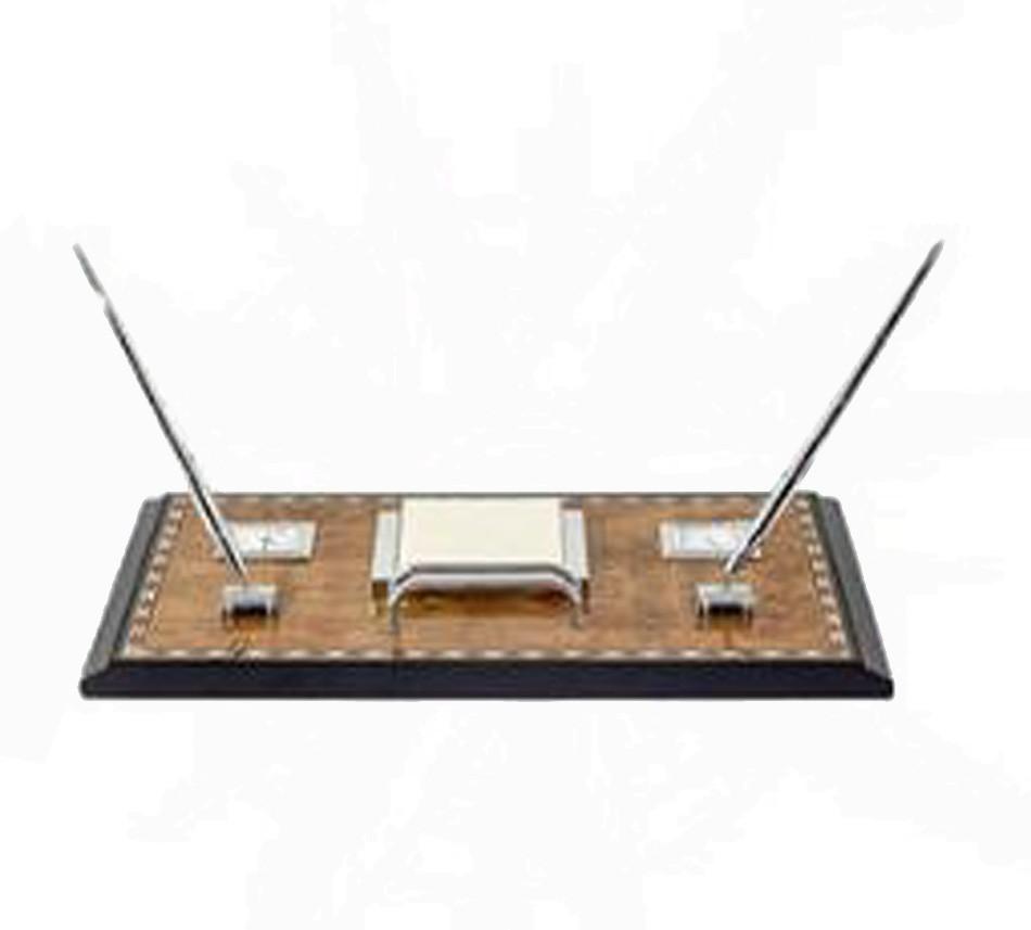 Kit Escritório Em Laca 2 Canetas Bloco/Relógio Goldway  - Arrivo Mobile