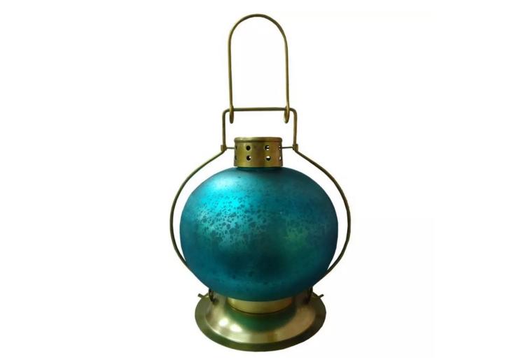 Lanterna Indiana Teal Blue Onion Round 20cm X 18cm X 18cm  - Arrivo Mobile