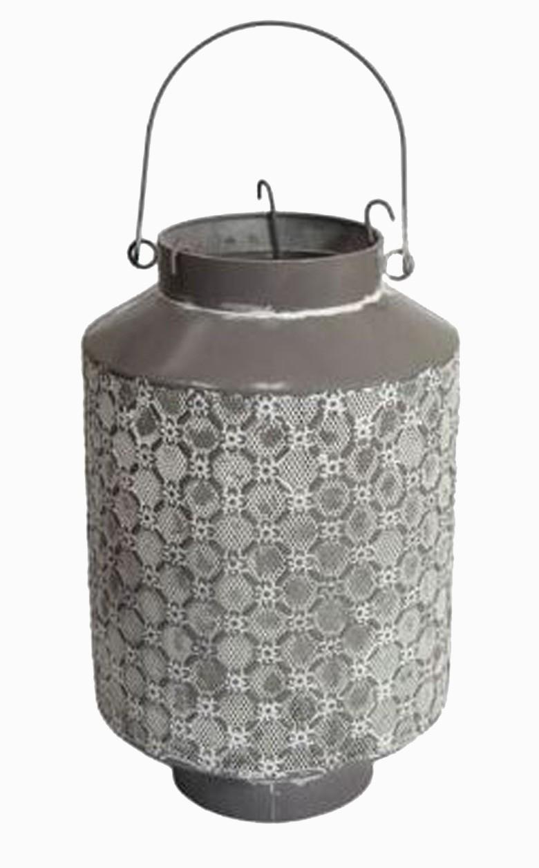 Lanterna Metal Cinza 33x21x21cm  - Arrivo Mobile