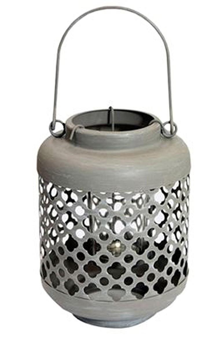 Lanterna Metal Cinza Quartzo 27x13x13cm  - Arrivo Mobile