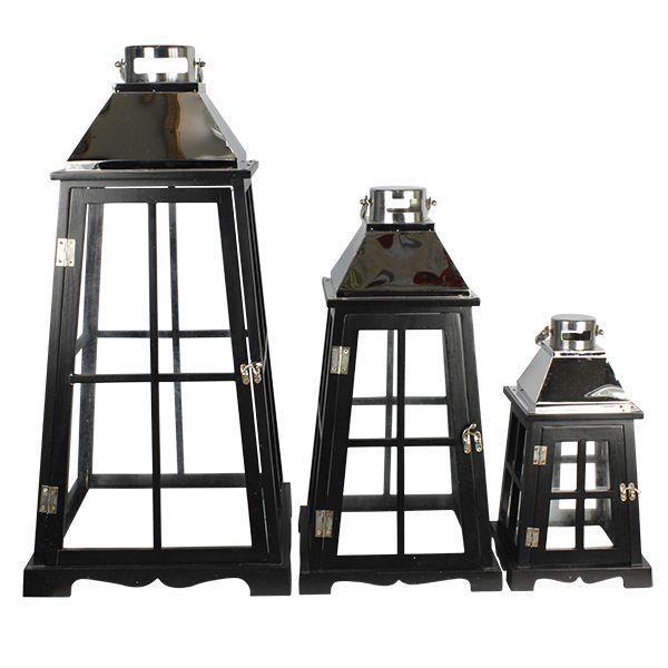 Lanterna Preta Conjunto  Inox Prata  - Arrivo Mobile