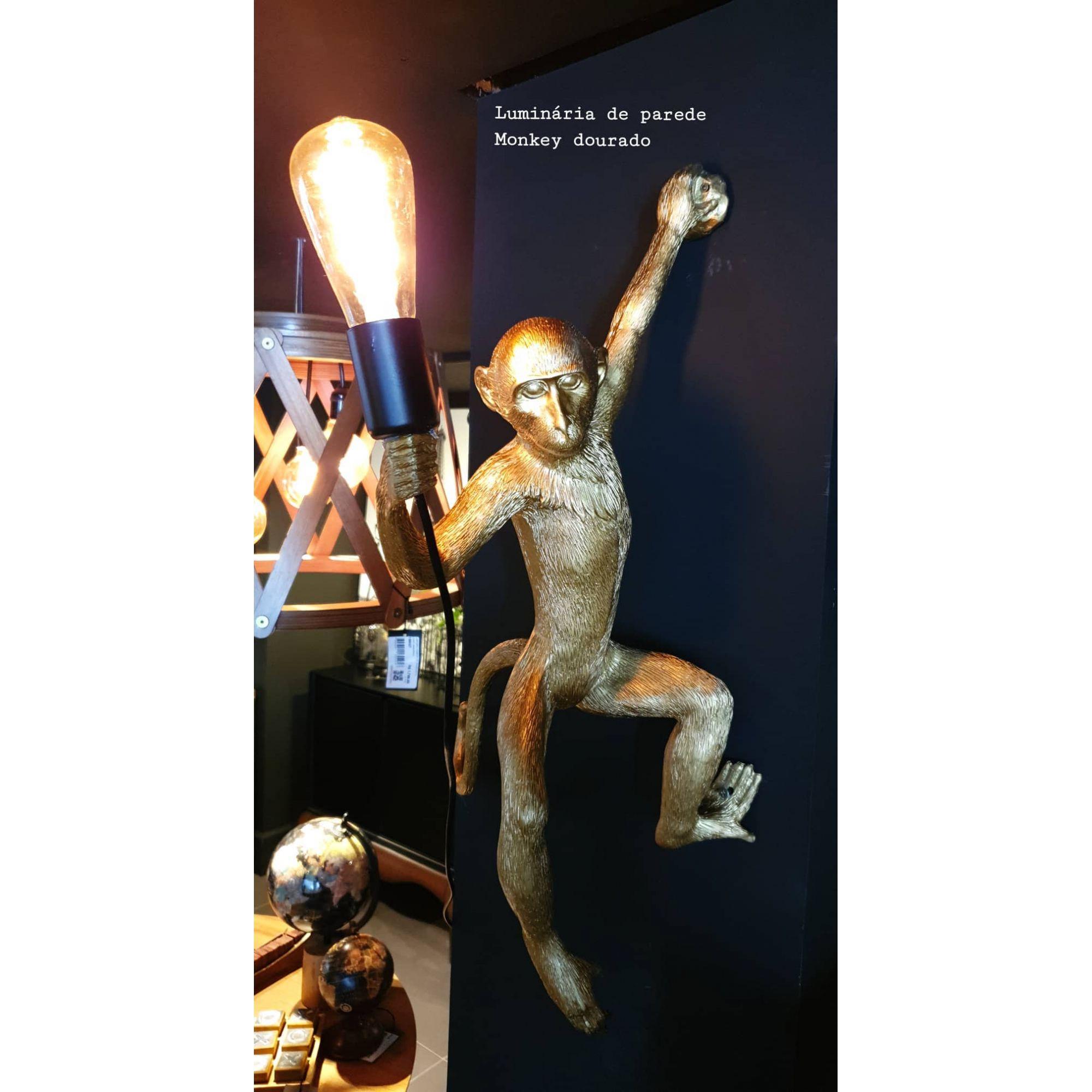 Luminária de Parede Monkey Dourada  -  Arrivo Mobile