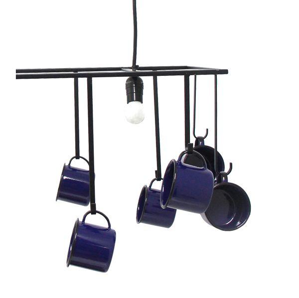 Luminária Gancheira 12 canecas Azuis 35x80x48cm  - Arrivo Mobile