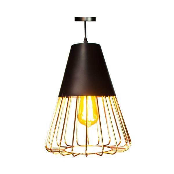 Luminária Pendente de Ferro cor Cobre   -  Arrivo Mobile